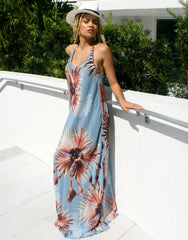 Maxi Flower Antique Blue Long Silk Dress