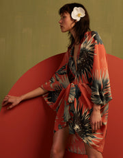 Adriana Degreas Maxi Flower Coral Silk Open Kaftan