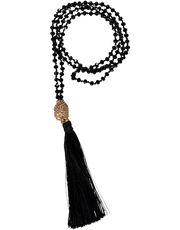 Buddha Head Bead Necklace, Black Tassel