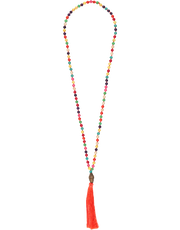 Buddha Head Bead Necklace, Orange Tassel