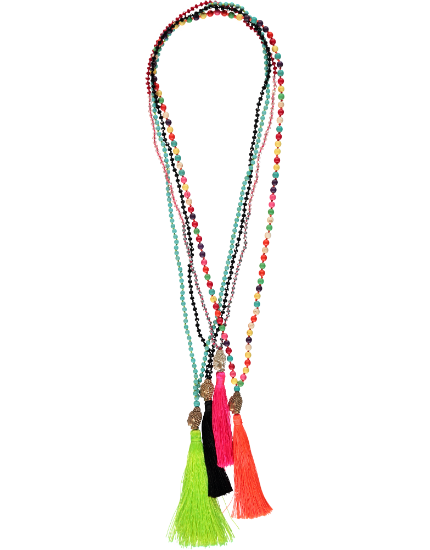 Buddha Head Bead Necklace, Lime Tassel