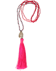 Buddha Head Bead Necklace, Pink Tassel