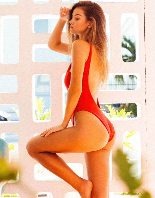 Beach Bunny Swimwear Rib Tide One Piece in Red