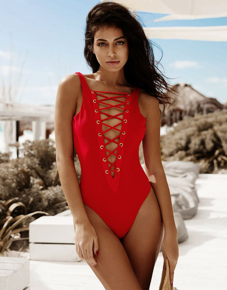 Rib Tide One Piece in Red