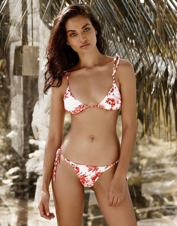 Beach Bunny Swimwear Samantha Tie Side Bikini Bottom in Red Floral