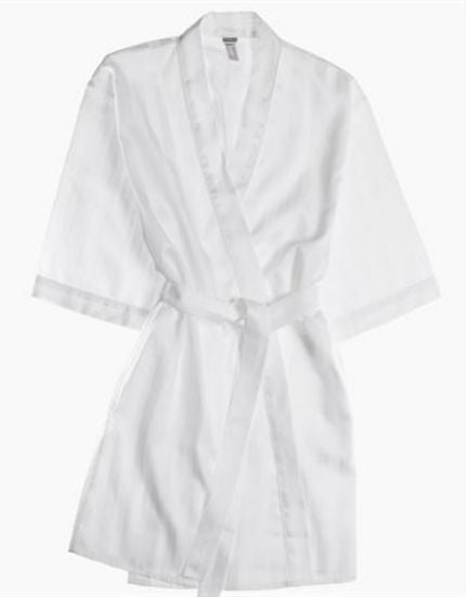 Shadow Stripe White Cotton Kimono