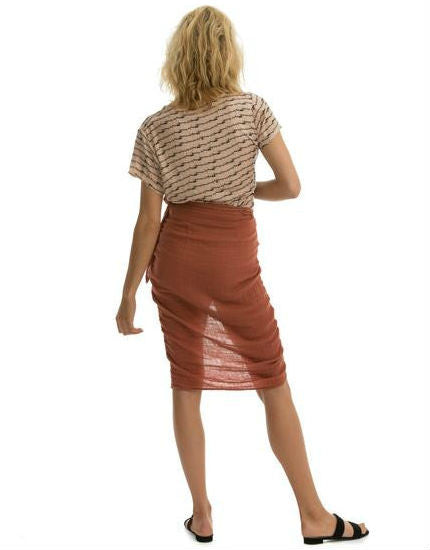 The Banda Skirt in Clay Cotton Gauze