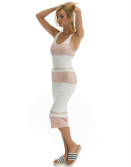 Cali Dreaming Striped Body Dress in Nude Stripe on Scuba