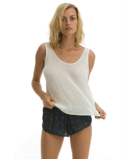 The Matar Tank in White Cotton Gauze