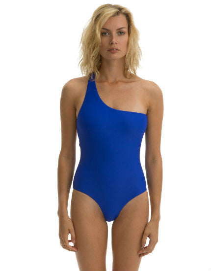 Cali Dreaming Milky Way One Shoulder One Piece Swimsuit in Royal