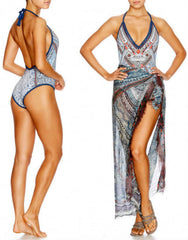 Antique Batik Swimsuit with Crochet Edge