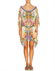 Flower Hour Short Round Neck Kaftan
