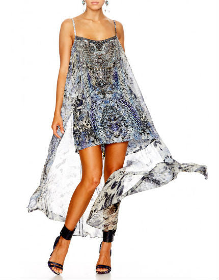 Hush Hush Silk Mini Dress with Long Overlay