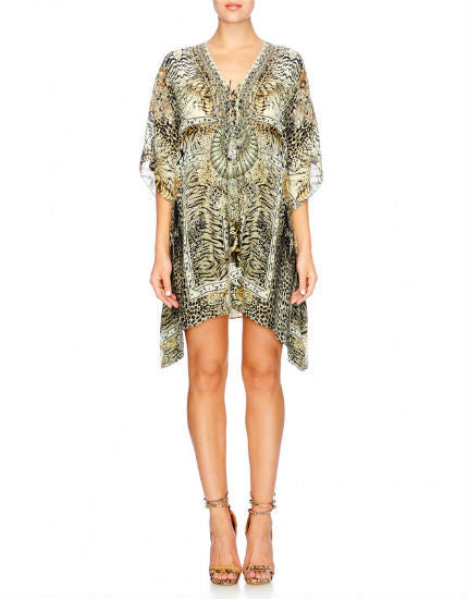 Spirit Animal Short Lace Up Silk Kaftan