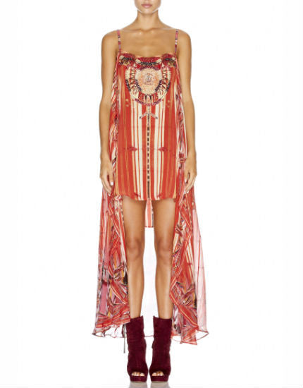 Arrows of the Loom Silk Mini Dress with Long Overlay