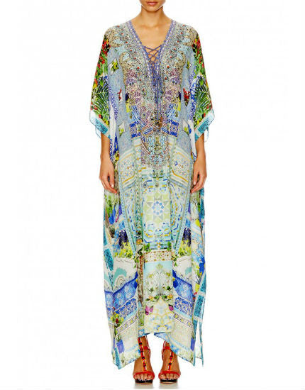 My Marjorelle Long Silk Lace Up Kaftan