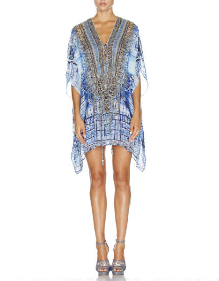 Power of Prayer Blue Short Lace Up Silk Kaftan