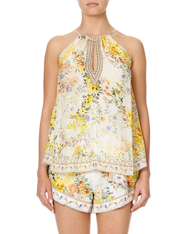 Camilla In the Hills of Tuscany Flared Cami with Neck Tie
