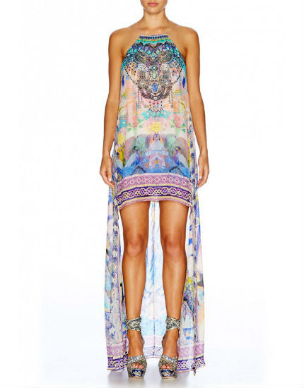 Gaudi Tribute Silk Short Sheer Overlay Dress