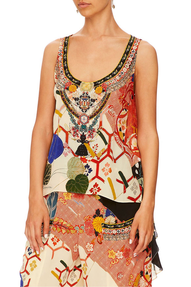 Camilla Kissing The Sun Long Back Scoop Neck Top