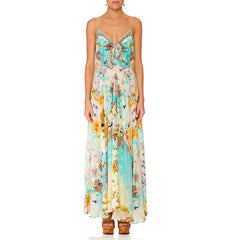 LONG DRESS W/ TIE FRONT RETRO'S RAINBOW
