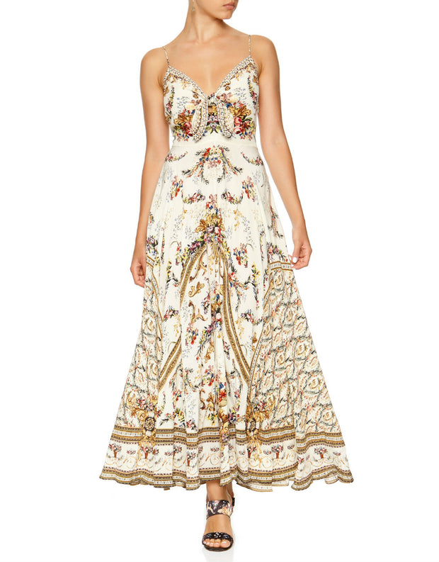 CAMILLA OLYMPE ODE LONG DRESS WITH TIE FRONT