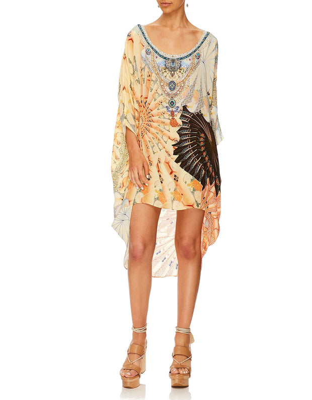 Camilla For the Fans Scoop Back Hem Short Silk Kaftan Dress