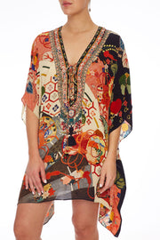 Camilla Kissing The Sun Short Lace Up Kaftan