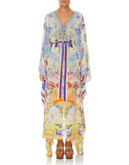 GIRL IN THE KIMONO SPLIT HEM LACE UP KAFTAN