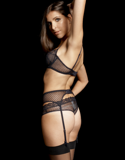 Reverence Lace Navy Suspender Belt