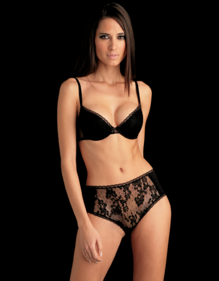 Rose High Waist Lace Brief in Black
