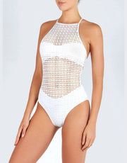 EVARAE IOLA CROSS BACK LASER ONE PIECE IN WHITE MATTE