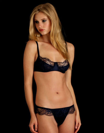 Midnight Storm Silk & Lace Thong