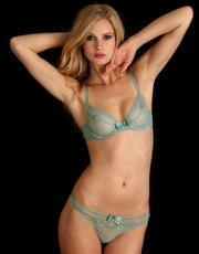 Huit Georgette Lace Thong in Celadon