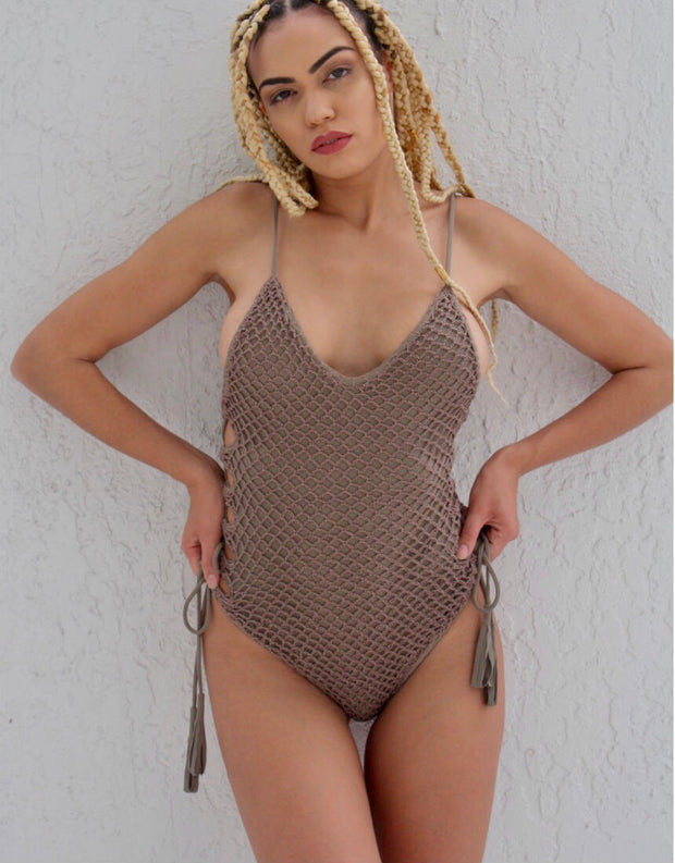 Acacia Swimwear Florence Crochet One Piece In Cement Catriona