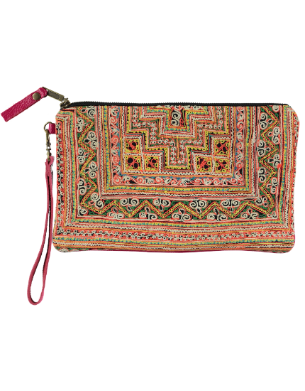 Charlotte Clutch with Pink Leather, Pink & Orange Embroidery