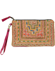 Charlotte Clutch with Pink Leather, Yellow & Pink Embroidery