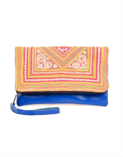 Large Charlotte Clutch with Blue Leather & Embroidery