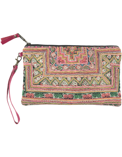 Charlotte Clutch with Pink Leather & Pink Embroidery