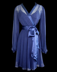 Bell Sleeved Navy Silk Robe