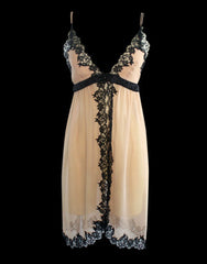 Silk & Lace Open Front Chemise in Nude