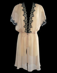 Silk & Lace  Short Sleeved Robe in Nude