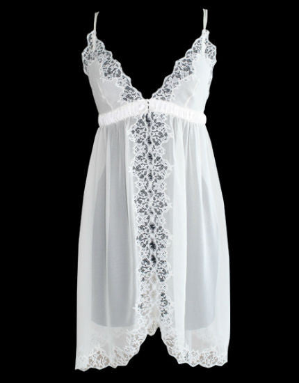 Silk & Lace Open Front Chemise in Ivory