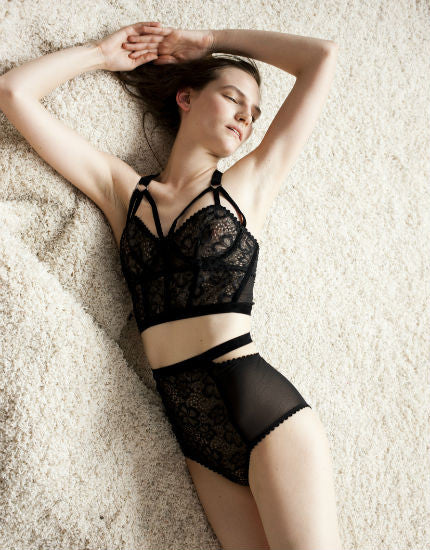 Lonely Sabel Black Lace Long Line Bra