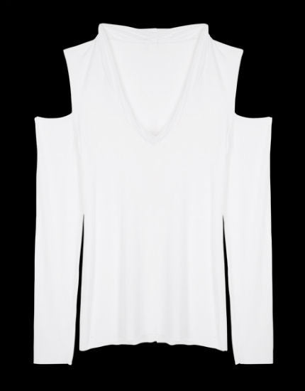 lounge lover white open shoulder top