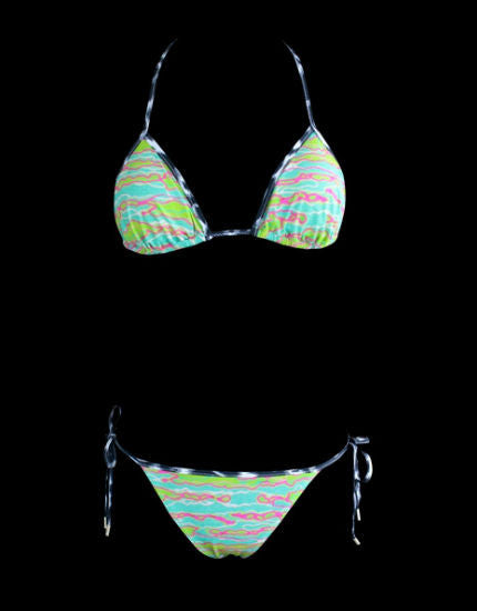 Neon Stripe Triangle Bikini