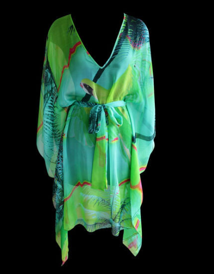 Tropical Silk Kaftan in Mint