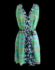 Neon Stripe Silk Sleeveless Tunic