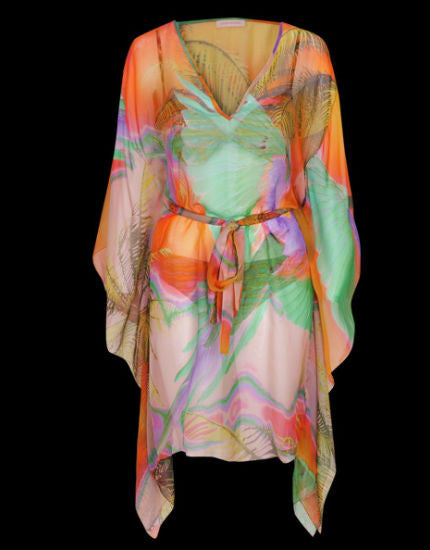 Tropical Silk Kaftan in Orange