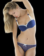 Blue Lagoon Polka Dot Silk Balcony Bra